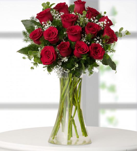 15 Kırmızı Gül  Çiçek Sepeti Gönder
