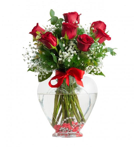 7 Kırmzı Gül Çiçek Sepeti Gönder C-KLP124