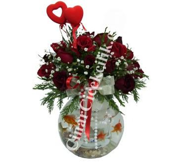 Fanusta Kırmızı Gül Balıklı Çiçek
