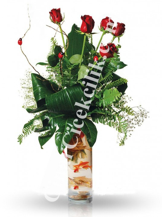 Uğurum '' Balıklı Çiçek Aranjmanı''