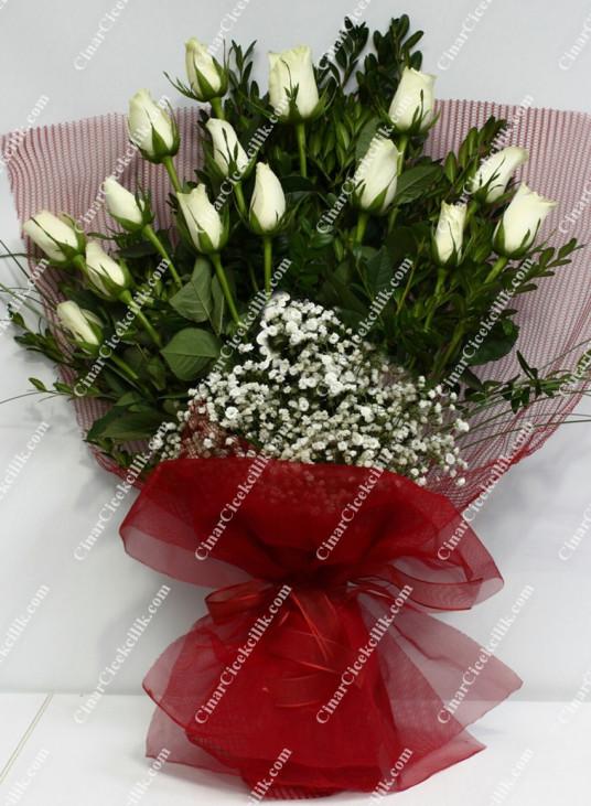 Beyaz Büyü Beyaz Gül Buketi C-BUK137