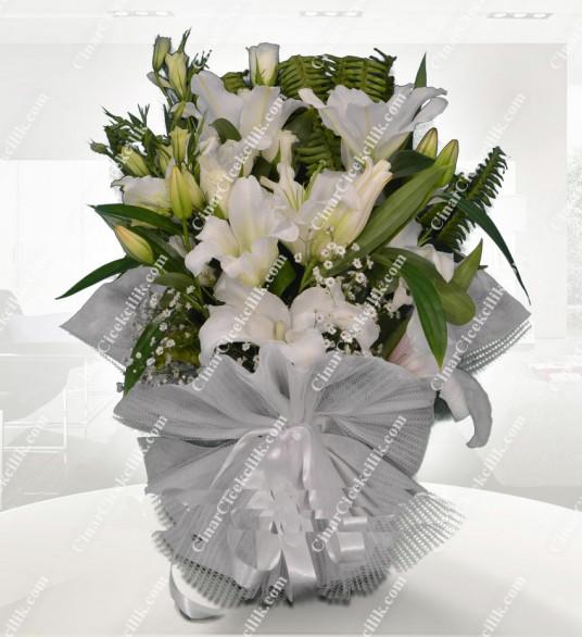 Beyaz Süpriz Şebboy Lilyum Buketi C-BUK150