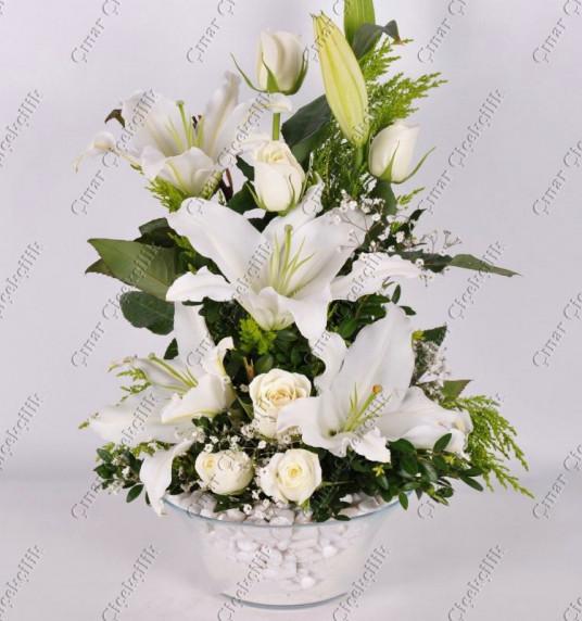 Mutluluğun Tarifi Beyaz Gül ve Lilyum C-AR156