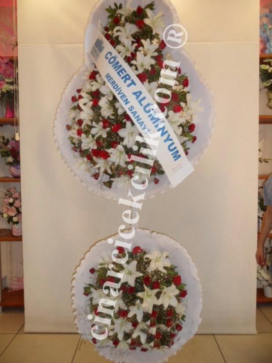 Kırmızı Beyaz Düğün Açılış Nişan Çelenk Çift Katlı