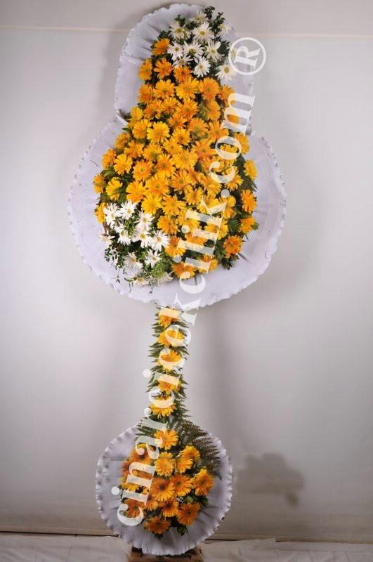 Çift Katlı Sarı Ayaklı Düğün Açılış Nişan Çelenk