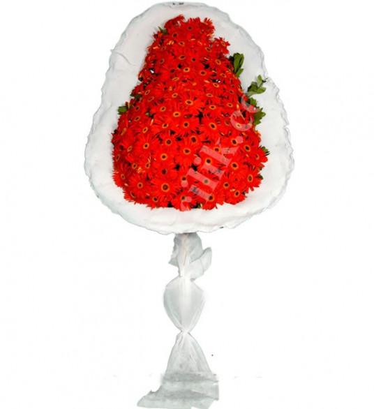 Tek Katlı Kırmızı Gerbera Düğün Açılış Nikah Çiçeği