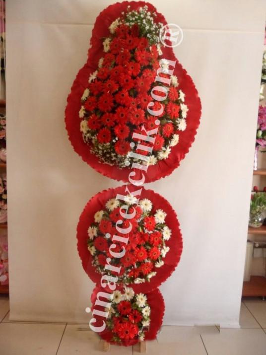 3 Katlı Kırmızı Beyaz Düğün Açılış Nikah Çiçekleri