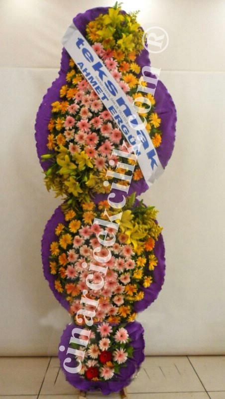 3 Katlı Turuncu Pembe Düğün Açılış Nikah Çiçekleri