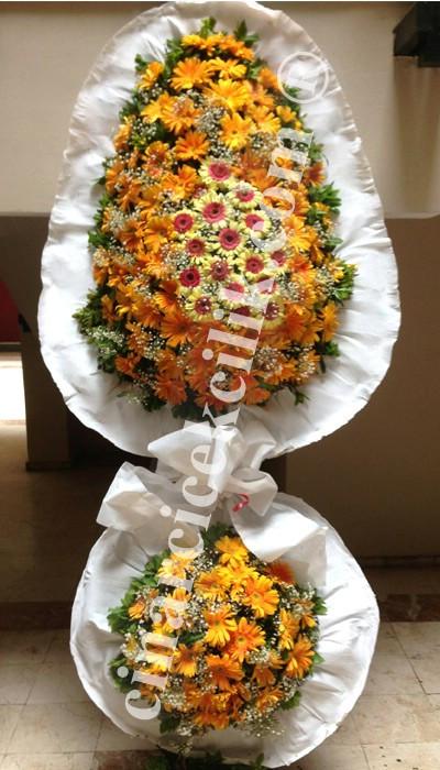 Düğün Açılış Nikah Çelenk Çiçekleri Turuncu Beyaz