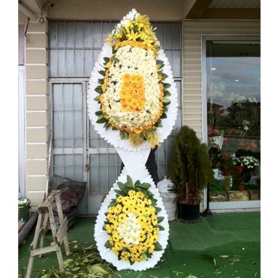 Düğün Acılış Nişan Çelenk Çift Katlı Sarı Beyaz