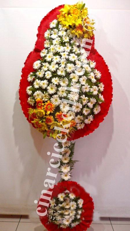 Beyaz Gerbera Sarı Lilyum Düğün Nişan Açılış Çelenkleri