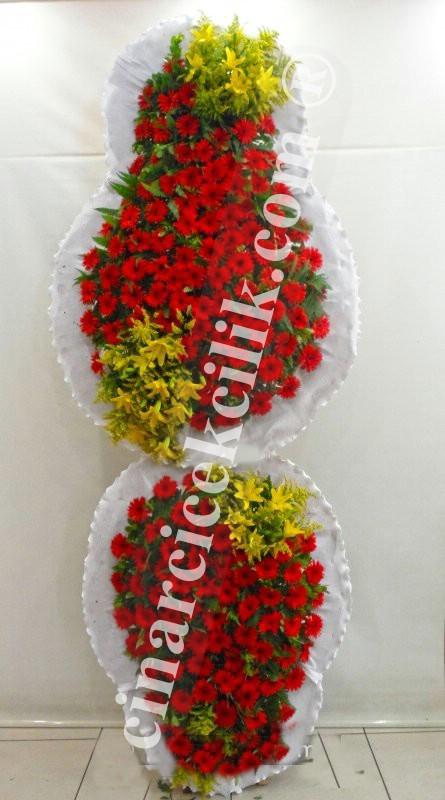Sarı Kırmızı Çift Katlı Düğün Nişan Açılış Çelenkleri
