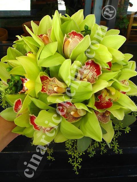 Gelin Buketi Yeşil Orkide