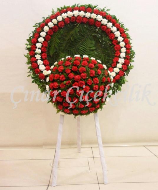 Göbekli Kırmızı beyaz-Cenaze Çelengi