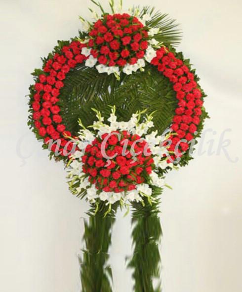 Çift Göbekli Kırmızı Cenaze Çelengi