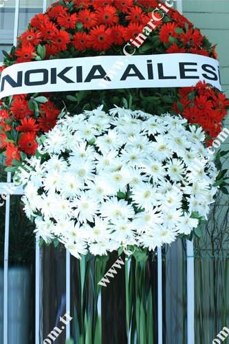 Kırmızı Beyaz Gerbera Cenaze Çelenği