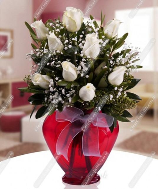 Kalbimdesin Kalp Vazoda Beyaz Gül C-KLP113