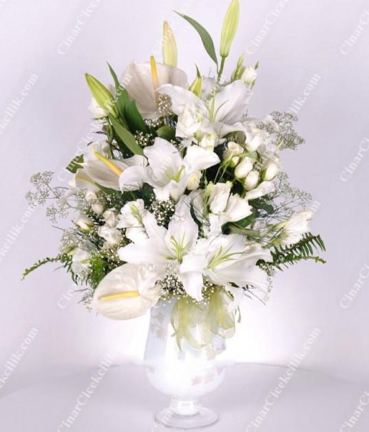 Beyaz Düş Lilyum Gül Antorium C-AR105