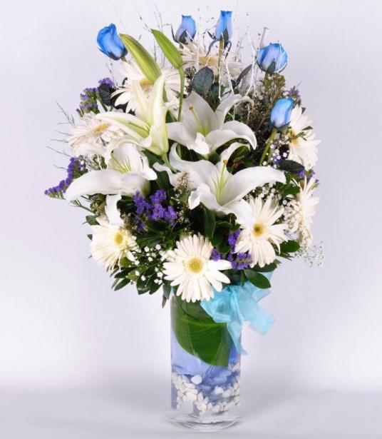 Kalbimin Sultanı Mavi Gül ve Lilyum C-AR138