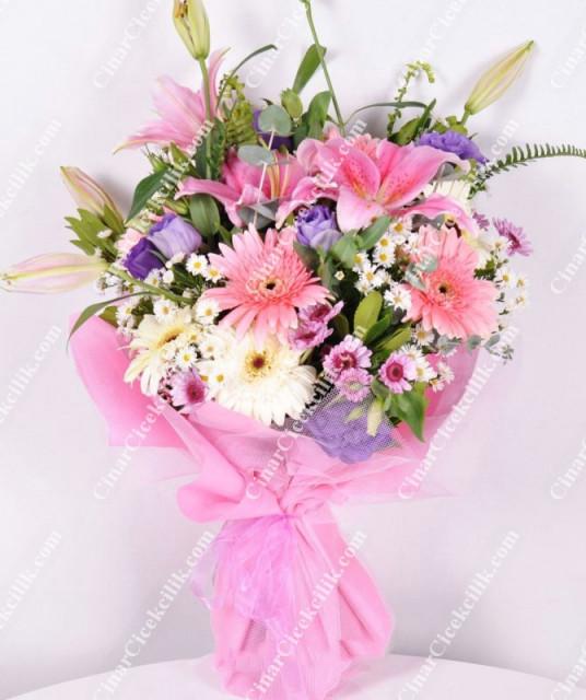 Pembelim Pembe Çiçek Buketi C-BUK156