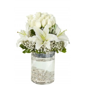 15 Adet Beyaz Gül Lilyum C-CAM107