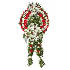 Beyaz-Kırmızı Gerber Cenaze Çelenği
