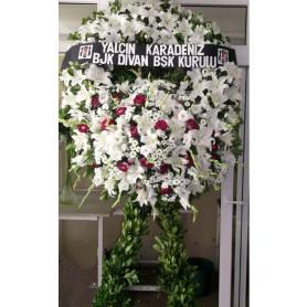 Beyaz Lilyum Pembe Gül Cenaze Merasim Çelenği