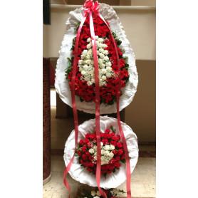 Beyaz Kırmızı Düğün Açılış Nişan Çelenk Çift Katlı
