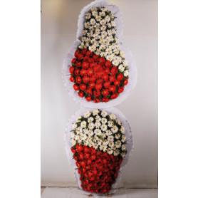 Kırmızı Beyaz Düğün Açılış Nişan Çelenkleri Çift Katlı