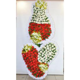 3 Göbekli Kırmızı Beyaz Düğün Açılış Nikah Çiçekleri