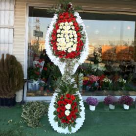 Düğün Açılış Nikah Çelenk Çiçekleri Beyaz Kırmızı