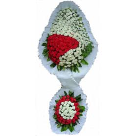Düğün Açılış Nikah Çiçekleri Çift Katlı Kırmızı Beyaz