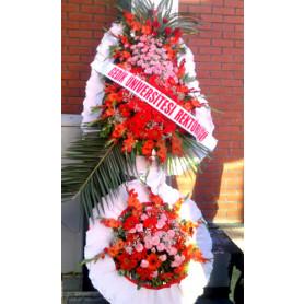 Düğün Acılış Nişan Çelenk Çift Katlı Kırmızı