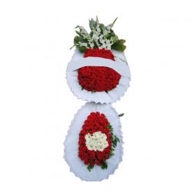 Kırmızı Beyaz Düğün & Nişan Çelenk Çift Katlı