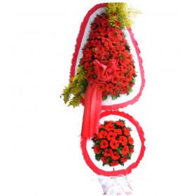Çift Katlı Kırmızı Gerbera Düğün Nişan Çelenkleri