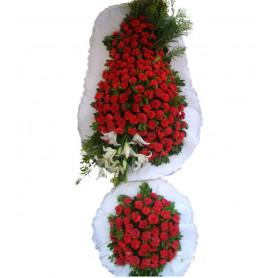 Kırmızı Karanfil Çift Katlı Düğün Nişan Açılış Çiçekleri
