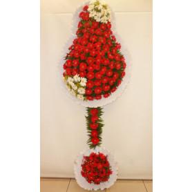 Çift Katlı Kırmızı Beyaz Düğün Nişan Açılış Çiçekleri