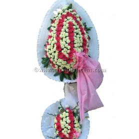 Çift Katlı Pembe Beyaz Düğün Nişan Açılış Çiçekleri