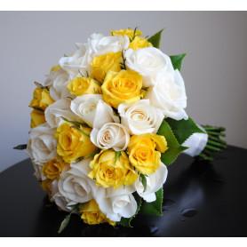 Sarı Beyaz Gul Gelin Buketi
