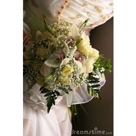 Gelin Buketi Somon Gül Beyaz Orkide