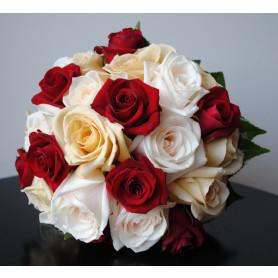 Kırmızı Beyaz Somon Renk Gelin Buketleri