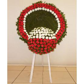 Tek Göbekli Kırmızı Beyaz Cenaze Çelengi