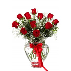 Çiçek Açan Aşk 11 Kalp Vazoda Kırmızı Gül C-KLP105