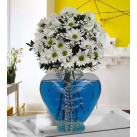 Kalp Vazoda Kır Çiçekleri C-KLP115