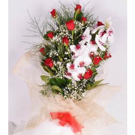 Kalbim Senin Orkide Kırmızı Gül  Buketi